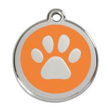 Hundemarke Pfote orange S 20mm